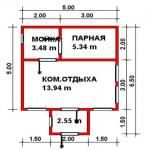 25.31 кв. м. каркасная баня