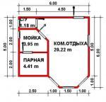 29.76 кв. м. каркасная баня