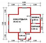 30.74 кв. м. каркасная баня
