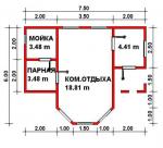 33.18 кв. м. каркасная баня