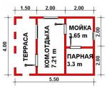 22 кв. м. каркасная баня