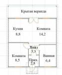 7.38x7.58 Каркасная дача из ЛСТК